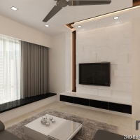 Living area_TV feature & bench