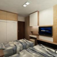 Master bedroom_wardrobe & TV console cum dressing table