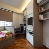 Bedroom 3 - study cum bookshelves & TV feature