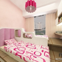 girl's bedroom_bedframe cum study